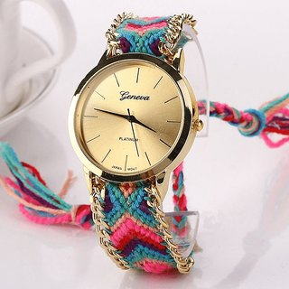 Geneva Handmade Braided Bracelet Rope Quartz Watch for Women