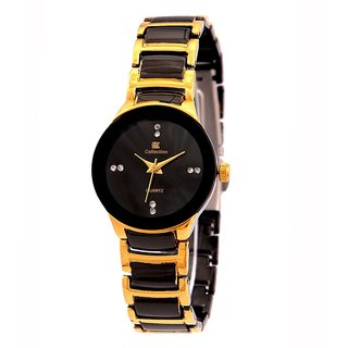 Iik Collection Round Dial Gold Metal Strap Watch for Women
