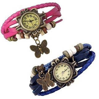 Varni Retail Pink And Blue Butterfly Dori Women Combo Watch For Girls
