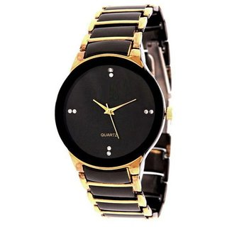 Glory Round Dial Black Metal Strap Watch for Women