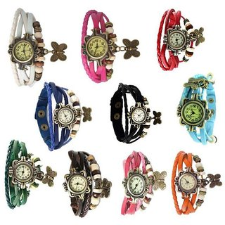 Glory Round Dial Multi Leather Strap Watch for Women