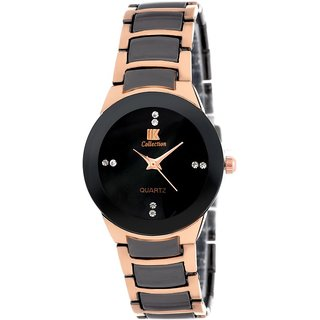 Iik Collection Round Dial Black Ceramic Strap Watch for Women