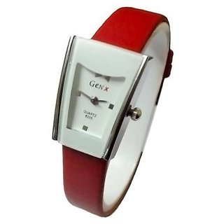 Paris Other Dial Red Leather Strap Watch for Women