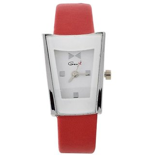 Genx Square Dial Red Leather Strap Watch for Women
