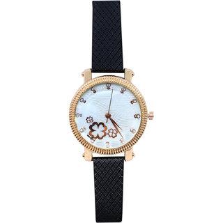 JM New Sure Short Style Black Leather Belt Watch