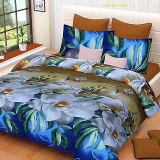 Craftwell 3D Printed Multicolor 140 Polycotton Double Bedsheet (240 cm x 220 cm) Set Of 1 Bedsheet and 2 Pillow