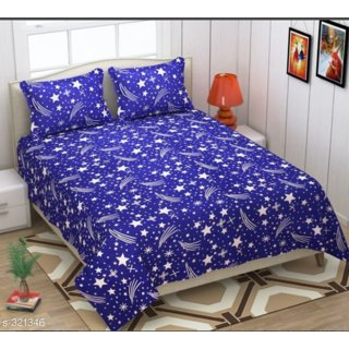 panipat handloom pollycotton 3d double bedsheet with two pillow covers-multicolour