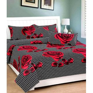 Choco Black Sikka 3D Bedsheet Pack Of 1 With Free 2 Pillow Cover