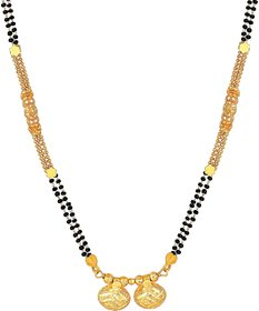 MFJ Fashion Luxurious Traditional Wati Long Haram Brass 1 Gram Gold Plated Mangalsutra For Women