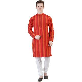 Kaddy Men's Cotton Full Sleeve Straight Long Regular Fit Kurta - Red