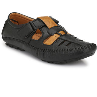 Real Blue Men's Black Synthetic Leather Casual Loafer