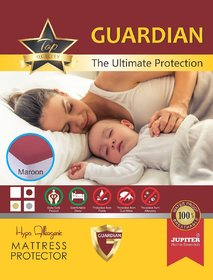 Zolo CT 78H F - Cotton Terry - Hypo Allergenic - Water Proof Mattress Protector - Guardian 72 x 78 x 12 - Maroon - Elas