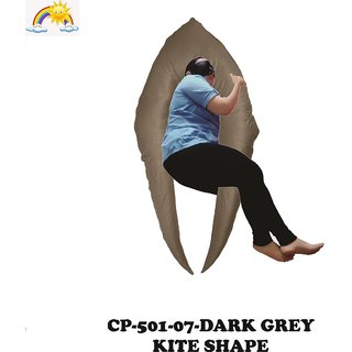 Comfort Pillows Kite Shape CP501 Dark Grey Maternity/Pregnancy Fiber Pillow For pregnant women Wgt-2.59Kg 152 X 95 X 88