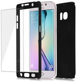 iPaky Full 360 Protection Front Back Cover With Tempered Glass for Samsung Galaxy J7 2016 (BLACK)