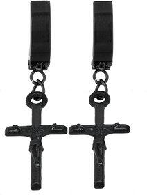 Men Style Jesus Christ Cross Charm Long Chain Black  Stainless Steel  Hoop Earring
