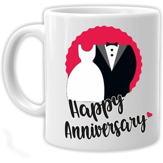 Ezellohub Printed Ceramic Coffee Mug Gift For Wife/gift Mugs for husband/Gift mug for Couple/ mug for Girlfriend/Mug for Valentine Day  325 Ml( Happy Anniversary )