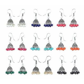 Sukkhi Exclusive Multicolor Oxidised Combo Of 9 Jhumki Earrings For Women