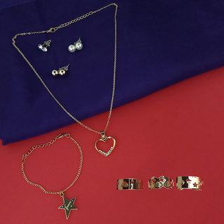 JewelMaze Zinc Alloy Pendant Set And Rings Combo