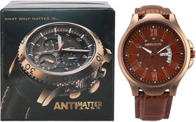 ANTIMATTER ASSN Day  Date Leather Multifunction Men's Watch