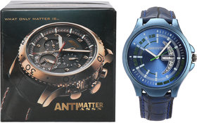 ANTIMATTER ASSN Day  Date Leather Analog Men's Watch