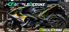 CR Decals PULSAR RS200 Fullbody Custom Decals/ Wrap/ Stickers VR46 SHARK Edition Kit - YELLOW