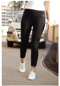 Bulbul Grid Checked Trendy Stretchable Jeggings