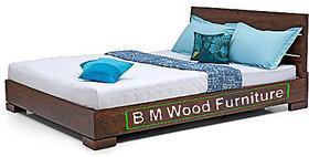 BM WOOD FURNITURE Queen Size Solid Wood Bed  Sheesham Wood   Natural Teak