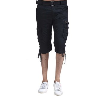 Stylish Capri Casual Shorts For Men Black