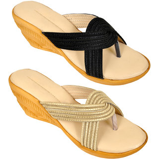 Combo of Two Stylish Multi-color Heel Wedges for Women (foot-1541-2-1323-crm-blk-6-p450)