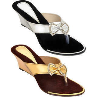 Combo of Two Stylish Multi-color Heel Wedges for Women (foot-1543-2-1370-sil-gld)