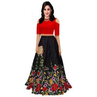 New Designer Black and red Color Bangalore Satin Semi Stitched Lehenga Choli (Black RedPrinted)