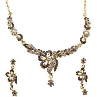 JewelMaze Purple Austrian Stone Gold Plated Necklace Set