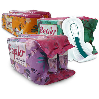 Befikr Sanitary Pad with Japanese Technology Combo Pack Of 2L 2XL and 2XXL Sanitary Pads