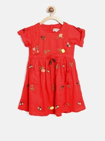 Red colour Fit and Flare cotton embroidered frock