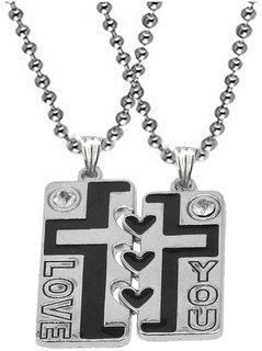 Men Style Matching Couple Jewelry Jesus Cross Broken Heart Black Silver Zinc Metal Necklace Pendant