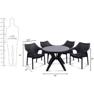supreme Cambridge Plastic 4 Seater Dining Set (Finish Color - Black)