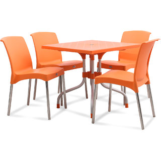 Supreme Plastic 4 Seater Dining Set (Finish Color - Orange)