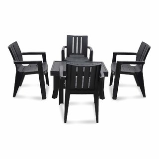 Supreme Plastic 4 Seater Dining Set (Finish Color - Black)