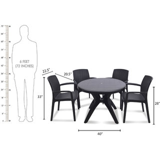 supreme Texas Plastic 4 Seater Dining Set (Finish Color - Black)