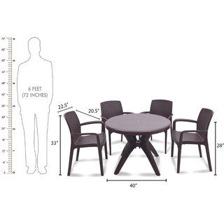 supreme Texas Plastic 4 Seater Dining Set (Finish Color - Brown)