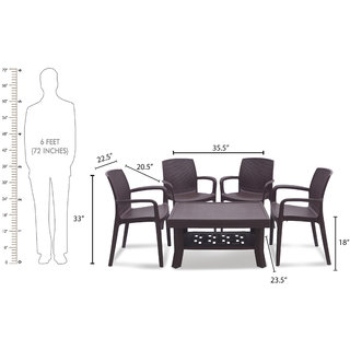 Supreme Brown Plastic Table & Chair Set (Finish Color - Brown)