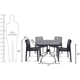 supreme Web Plastic 4 Seater Dining Set (Finish Color - Black)