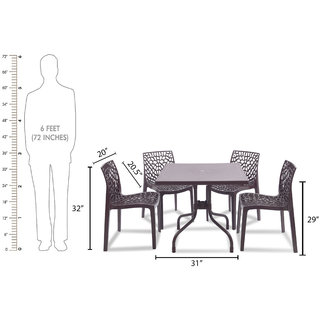 supreme Web Plastic 4 Seater Dining Set (Finish Color - Brown)