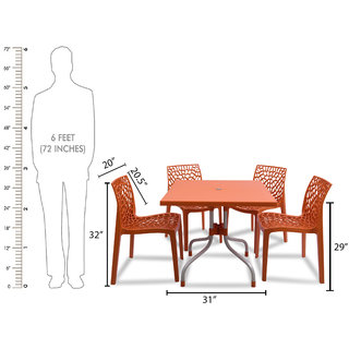supreme Web Plastic 4 Seater Dining Set (Finish Color - Orange)