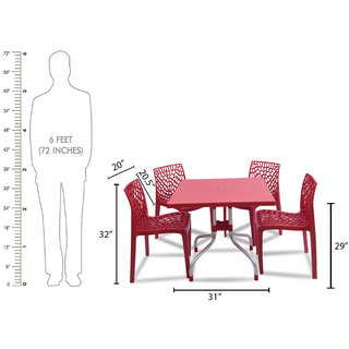 supreme Web Plastic 4 Seater Dining Set (Finish Color - Red)