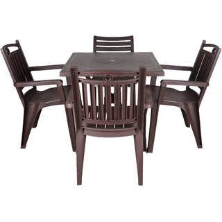 Supreme Plastic 4 Seater Dining Set (Finish Color - Brown)