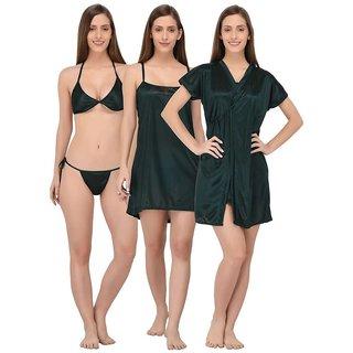 Kismat Fashion Black Sexy & Stylish 4 Pc Nighty Set Satin Short Babydoll & Short Robe With Bra & Panty Set