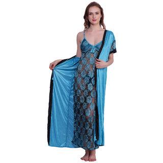 Kismat Fashion Tarq Sexy & Stylish Net Babydoll Nighty With Satin Long Robe