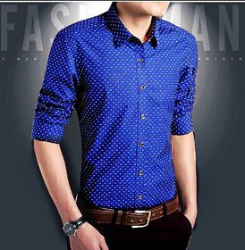 Smunk Fashion Dotted Royal Blue Regular Fit Casual Shirt For Men