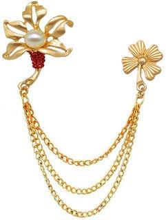 Men Style Mens Suit Rhinestone Crystal Flower Wedding Lapel Pin Hanging Chain Gold Brass Brooch